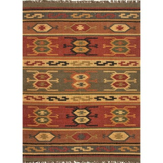 Flat Weave Tribal Pattern Red/ Gold Jute Area Rug (5' x 8')