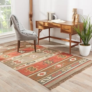 Flat Weave Tribal Pattern Red/ Gold Jute Area Rug (2' x 3')