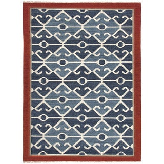 Flat Weave Tribal Pattern Blue/ Red Wool Area Rug (8' x 10')