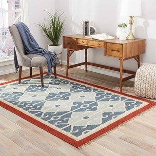 Flat Weave Tribal Pattern Blue/ Red Wool Area Rug (4' x 6')
