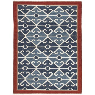 Flat Weave Tribal Pattern Blue/ Red Wool Area Rug (2' x 3')