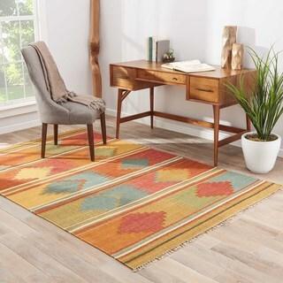 Flat Weave Tribal Pattern Red/ Multi Wool Area Rug (5' x 8')