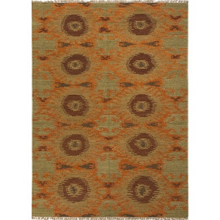 Flat Weave Tribal Pattern Gold/ Green Wool Area Rug (2' x 3')