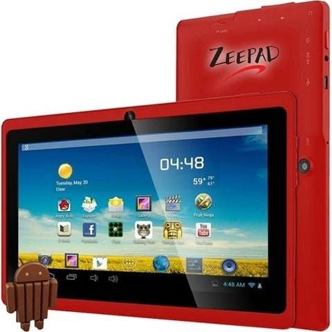 "Zeepad 7DRK-Q Tablet - 7"" WVGA - 512 MB RAM - 4 GB Storage - Android 4.4 KitKat - Red"