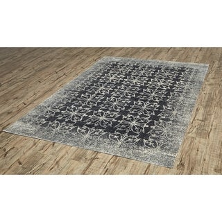 Grand Bazaar Power-Loomed Art Silk Chantal Rug in Dark Gray/Silver (5' x 7'6)