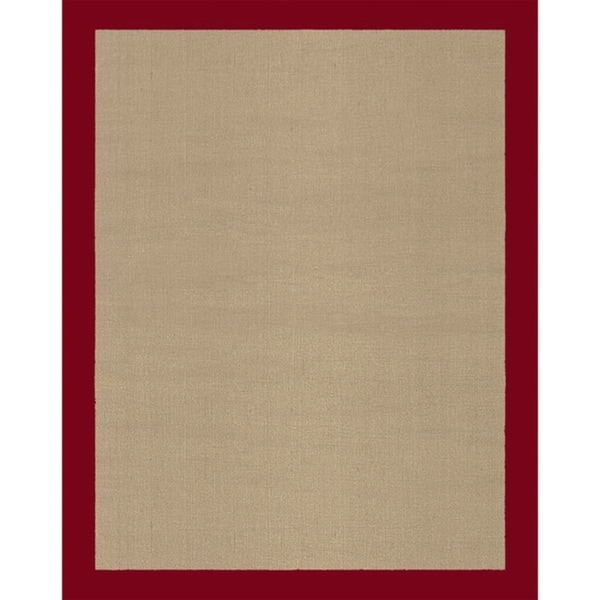 Grand Bazaar Jute Rug with Red Border - 1'6 x 2'6