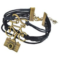Zodaca Fashion Multi-string Leather Velvet Bracelet with Alloy Charms