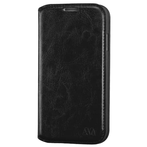 INSTEN Black Leather Fabric Folio Wallet Phone Case Cover with Stand/ Card Slot For Samsung Galaxy S4 LTE version/ S4 GT-i9500