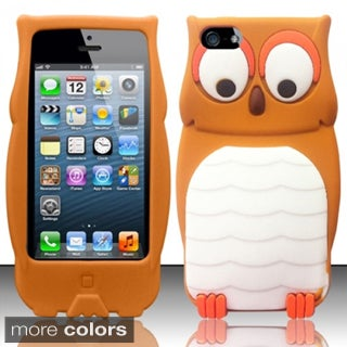 INSTEN 3D Brown/ White Owl Soft Silicone Rubberized Matte Snap-on Phone Case Cover For Apple iPhone 5/ 5S
