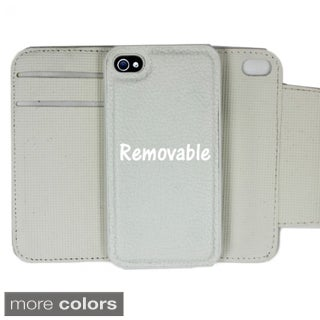 INSTEN White Premium Seek Leather Fabric Folio Wallet Phone Case Cover with Card Slot For Apple iPhone 4/ 4S