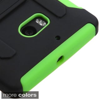 INSTEN Black/ Green Car Armor Soft Silicone Hybrid Plastic Phone Case Cover with Stand For Nokia Lumia 929