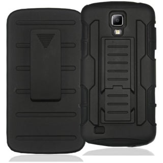 INSTEN Black Car Armor Soft Silicone Hybrid Hard Rubberized Matte Phone Case Cover with Holster For Samsung Galaxy S4 Active