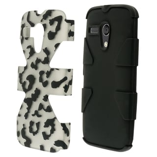 INSTEN Leopard Dynamic Soft Silicone Hybrid Hard Plastic Rubberized Matte Phone Case Cover For Motorola Moto G