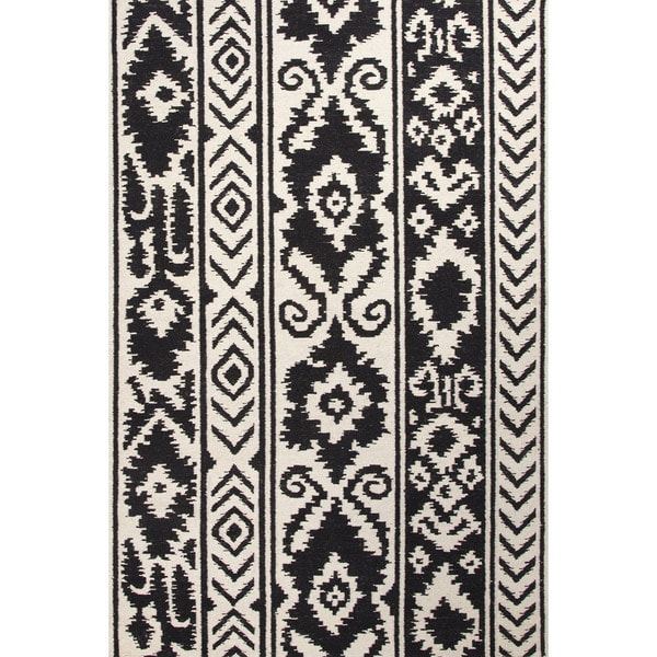 Handmade Indo Flat Weave Tribal Pattern White Black Wool Area Rug 3 X27