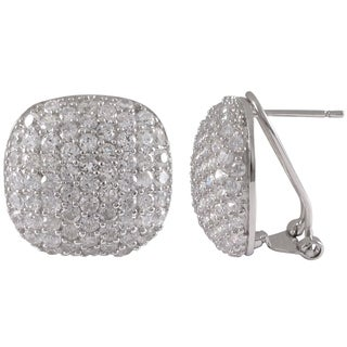 Luxiro Sterling Silver Cubic Zirconia Rounded Square Dome Pave Stud Earrings