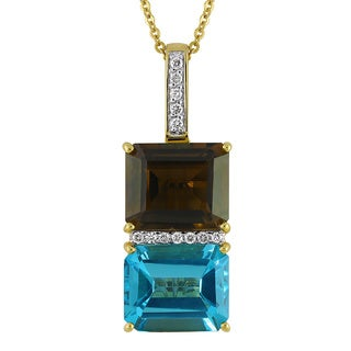 Beverly Hills Charms 14k Yellow Gold 1/6ct TDW Diamond Blue Topaz and Smokey Quartz Necklace (H-I, SI1-SI2)