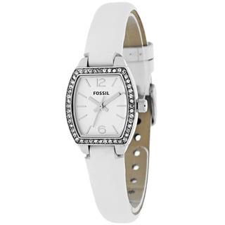 Fossil Women's BQ1211 Classic Tonneau White Strap Watch