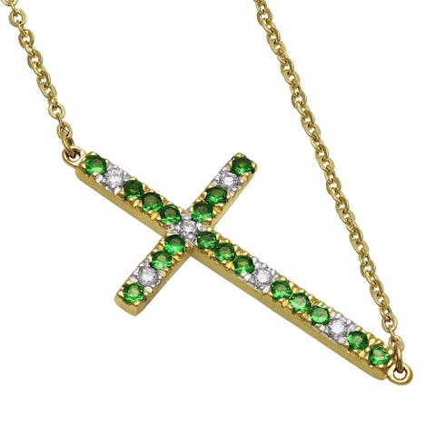 14k Yellow Gold Diamonds and Tsavorite Sideways Cross Necklace