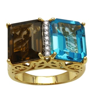 Beverly Hills Charm 14k Yellow Gold 1/14ct TDW Diamonds, Blue Topaz and Smokey Quartz Ring (H-I, SI2-I1)