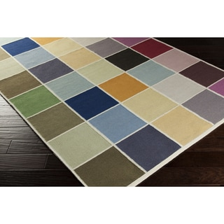 Hand-woven Kingsley Check Pattern Wool Rug (2' x 3')