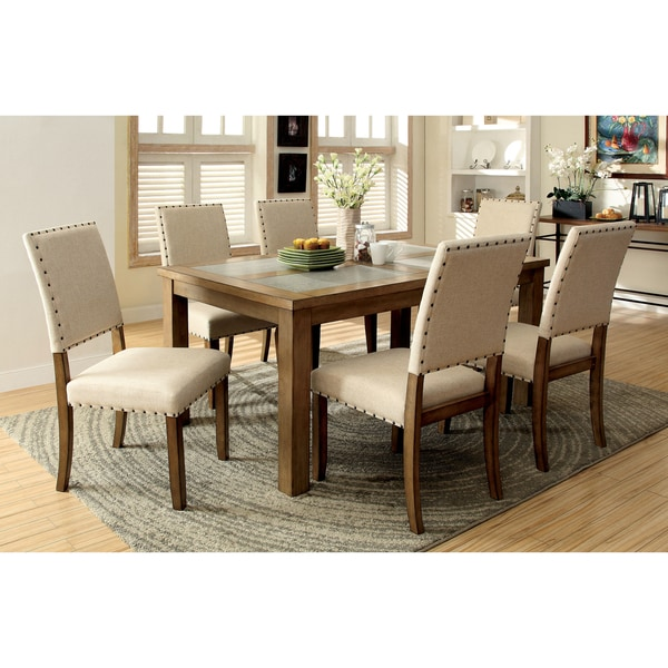 Furniture Of America Veronte 7 Piece Stone Top Dining Set