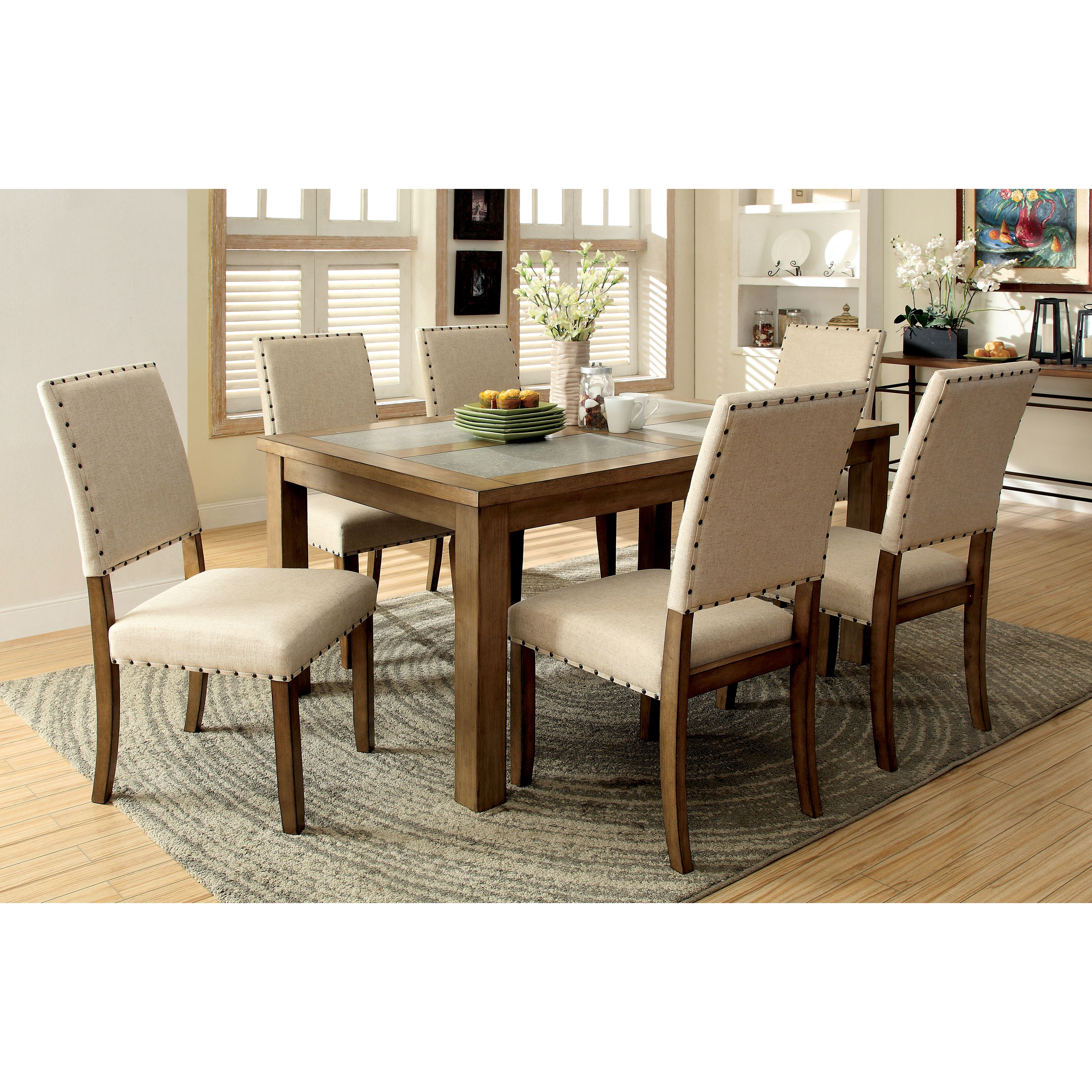 Furniture of America Veronte 7-Piece Stone Top Dining Set...