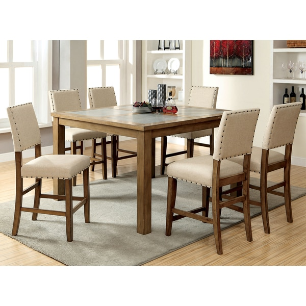 Furniture Of America Veronte 7 Piece Stone Top Counter Height Dining Set
