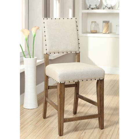 Furniture of America Rick Modern Ivory Fabric Counter Chairs (Set of 2)