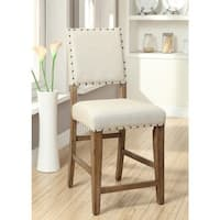 Furniture of America Veronte Ivory Linen Counter Height Chair (Set of 2)