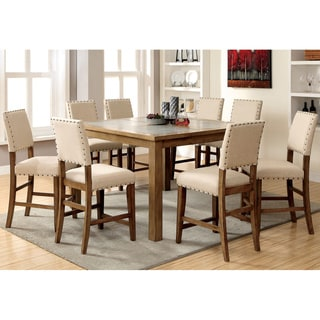 Furniture of America Veronte 9-Piece Stone Top Counter Height Dining Set