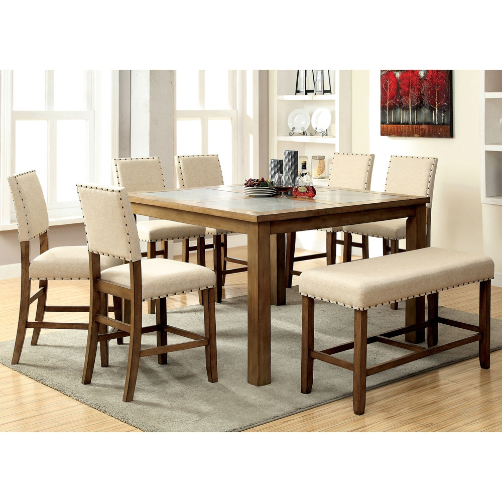 Furniture Of America Veronte Stone Top Counter Height Dining Table Brown