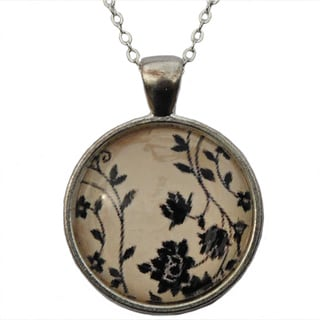 Atkinson Creations Floral Elegance Glass Dome Pendant Necklace