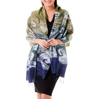 Handmade 'Ocean Cliff' Batik Silk Shawl (Thailand)