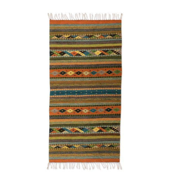 Mexican Hand Crafted Zapotec Harmony Wool Rug 2 X 5