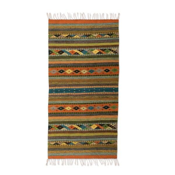 Handmade Mexican Zapotec Harmony Wool Rug 2 x 5 Ft. (Mexico) - 2' x 5'