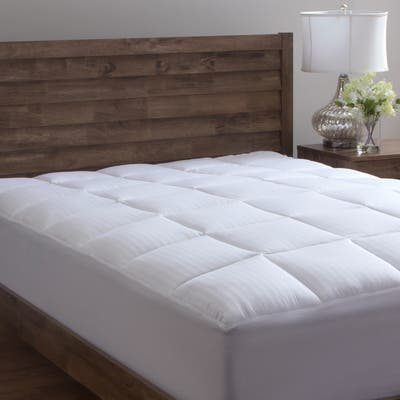 Dobby Stripe Cotton Mattress Pad Overfilled by Grandeur Collection - White