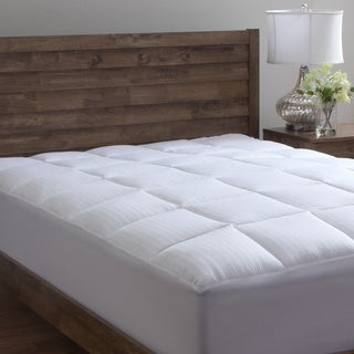 Grandeur Collection Overfilled Dobby Stripe Cotton Mattress Pad