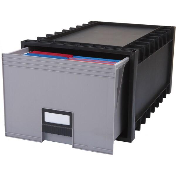 Plastic Archive Storage Box, Letter/ Legal, 24-Inch Drawer, Black ...
