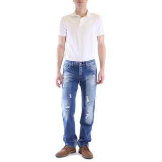 Dinamit Men's Classic Distressed Straight Leg Jeans