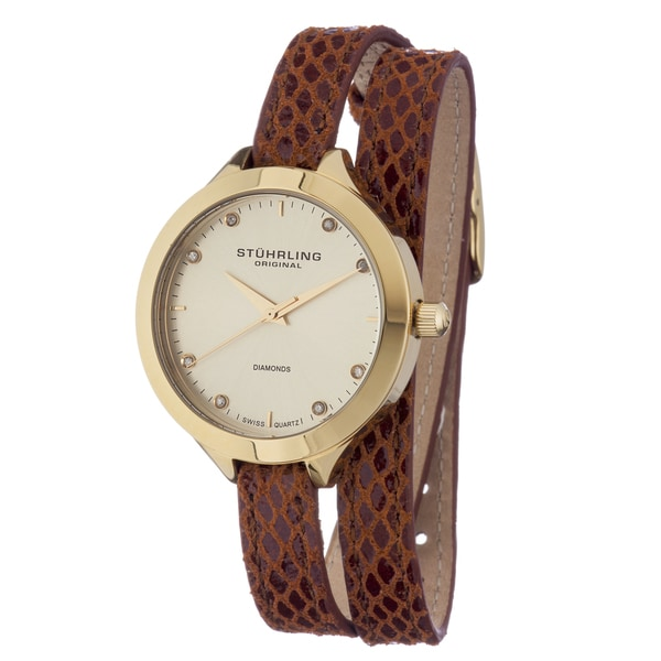 Stuhrling Original Women's Swiss Quartz Vogue Leather Double Strap Watch
