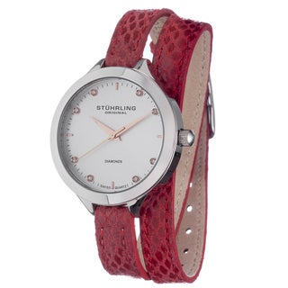 Stuhrling Original Women's Swiss Quartz Double Leather Strap Watch