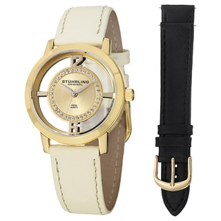 Stuhrling Original Women's Winchester Tiara Swiss Quartz Leather Strap Watch Set