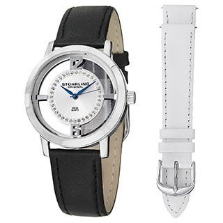 Stuhrling Original Women's Swiss Quartz Winchester Tiara Leather Strap Watch Set|https://ak1.ostkcdn.com/images/products/9781340/P16951094.jpg?impolicy=medium