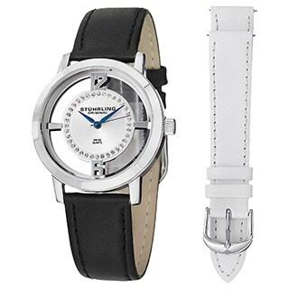 Stuhrling Original Women's Swiss Quartz Winchester Tiara Leather Strap Watch Set