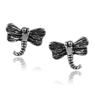Journee Collection Sterling Silver Dragonfly Stud Earrings