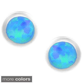 Journee Collection Sterling Silver Opal Round Stud Earrings