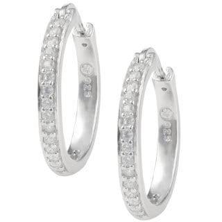 Journee Collection Sterling Silver Cubic Zirconia Hoop Saddleback Earrings