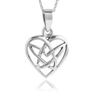 Journee Collection Sterling Silver Celtic Heart Necklace