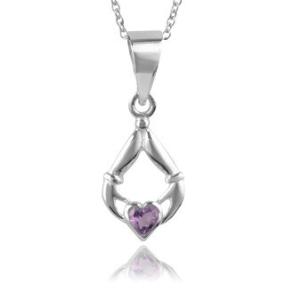 Journee Collection Sterling Silver Amethyst Claddagh Necklace