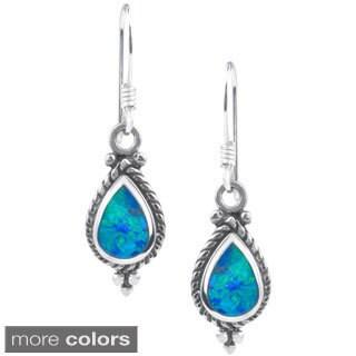 Journee Collection Sterling Silver Opal Teardrop Dangle Earrings